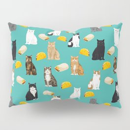 Cat breed tacos and burritos cute kitty lover pet gifts must have mexican food night Pillow Sham
