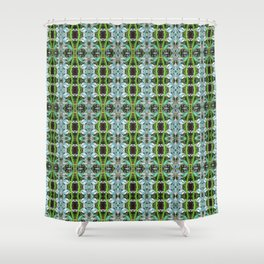 Jade Hearts Stained Glass Patten Shower Curtain