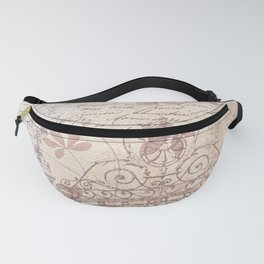 Vintage rustic ivory brown floral collage typography Fanny Pack