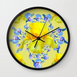 YELLOW & BLUE-WHITE IRIS BLACK ABSTRACT PATTERN Wall Clock