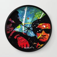 blues brothers Wall Clocks featuring Blues by veermania