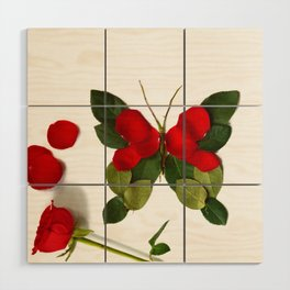 Butterfly-Rose Wood Wall Art