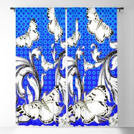 WHITE BUTTERFLIES FLUTTERING WITH BAROQUE FLORAL Blackout Curtain