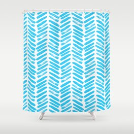 Simple Teal and white handrawn chevron - horizontal - for your summer Shower Curtain