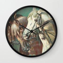 Vintage Circus Horses Wall Clock