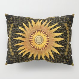 """Black & Gold Vault Mandala"" Pillow Sham"