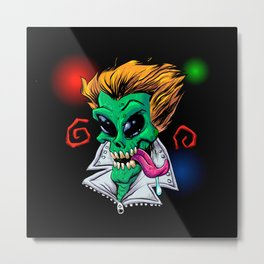 Green Alien zombie in the party. Metal Print