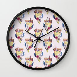 pizzacorn floral Wall Clock