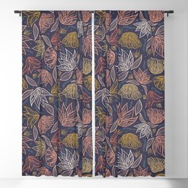 Bohemian Florals in Blue + Coral Blackout Curtain