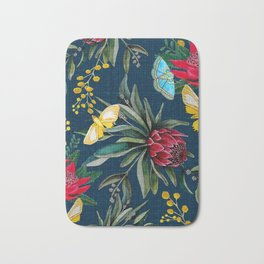 Protea and Watarah with golden wattle, Australian flowers and butterfly moths painted in watercolor Bath Mat