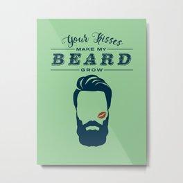 Beard Kisses Blue on Green Metal Print
