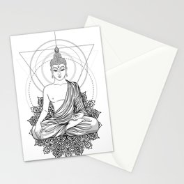 Sitting Buddha isolated on white Stationery Cards