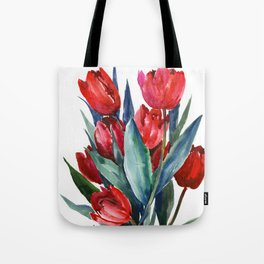 Red Tulips Floral Red,Turquoise Blue Artwork, garden tulips tulip lover design Tote Bag