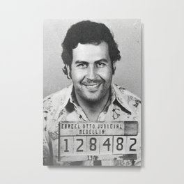 Pablo Escobar Mug Shot Poster, Hypebeast Poster, Hip Hop Poster, Urban Wall Art, Graffiti Wall Art, Street Art Posters Metal Print