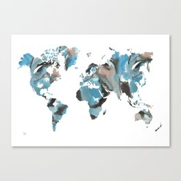 Watercolor World Map (brown/blue/white) Canvas Print