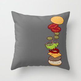 cheeseburger exploded Throw Pillow