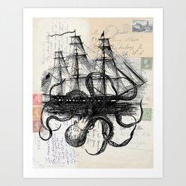 Octopus Kraken Attacking Ship on Old Postcards Art Print