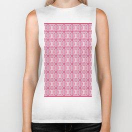 Cerise Pink Greek Key Pattern Biker Tank