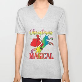 Christmas Is Magical Santa Riding Unicorn Holiday Graphic graphic Unisex V-Neck