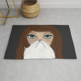 Crazy Cat Lady With Curly Hair Rug