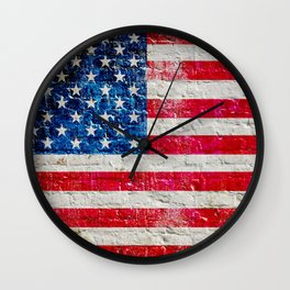 Distressed American Flag On Old Brick Wall - Horizontal Wall Clock