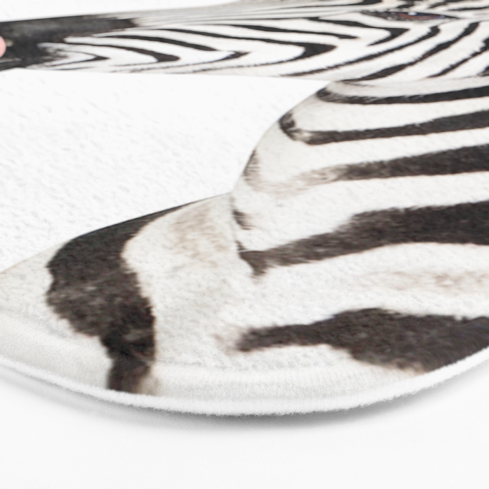 Funny zebra with pink bubble gum Bath Mat