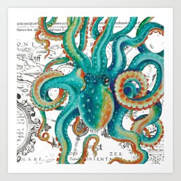 Teal Octopus Tentacles Vintage Map Nautical Art Print