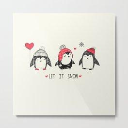 Let it snow penguins Metal Print