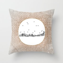 Barcelona, Spain City Skyline Illustration Drawing Throw Pillow