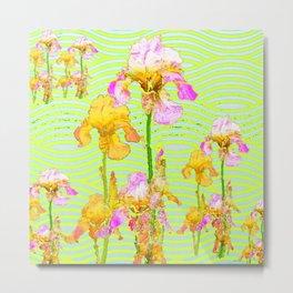 Contemporary Vibrant, Yellow-Purple Iris Pattern Art Metal Print