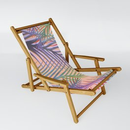 Palm Leaves Pattern - Purple, Peach, Blue Sling Chair