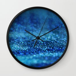 Aqua Glitter effect- Sparkling print in different blue Wall Clock