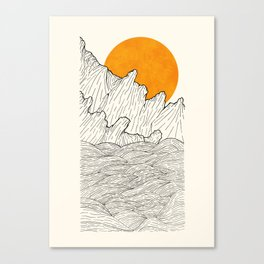 The great sun over the sea cliffs Canvas Print
