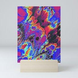 blue trippy psychedelic artwork wall print Mini Art Print