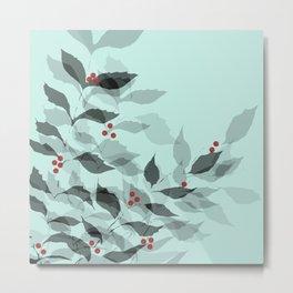 Leaves with Christmas Berries Metal Print