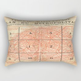 Vintage Paris City Centre Map Rectangular Pillow