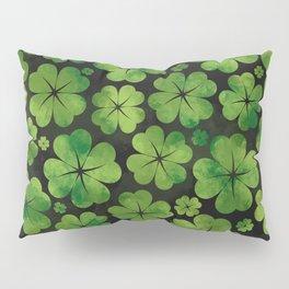 Lucky Shamrock Four-leaf Clover Pattern Watercolor Pillow Sham