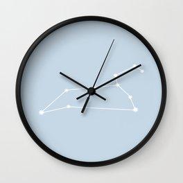 Leo Zodiac Constellation - Pastel Blue Wall Clock