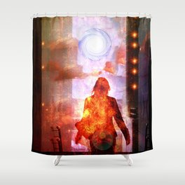 Her Infernal Exit Shower Curtain