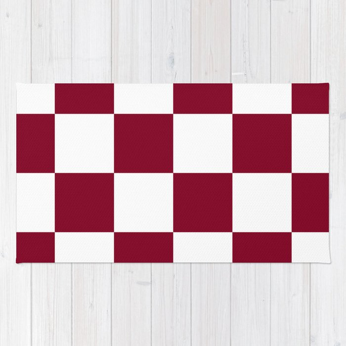 Large Checkered White And Burgundy Red Rug