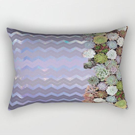 Lavender Opal & Succulent Chevron  Rectangular Pillow
