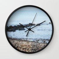 denmark Wall Clocks featuring Denmark Beach by Kayleigh Rappaport