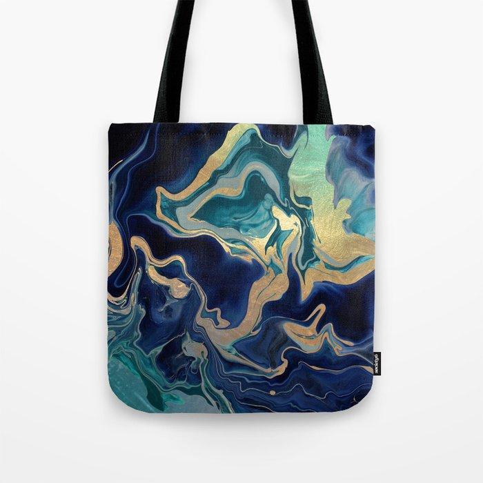 DRAMAQUEEN - GOLD INDIGO MARBLE Tote Bag