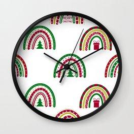 Christmas Boho Rainbows pattern Wall Clock