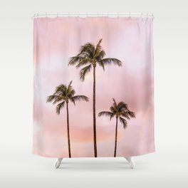 Palm Tree Photography | Landscape | Sunset Unicorn Clouds | Blush Millennial Pink Shower Curtain