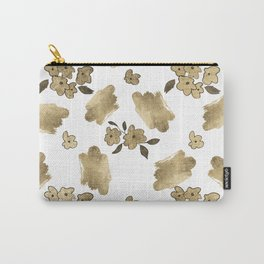 Modern white faux gold brushstrokes floral pattern Carry-All Pouch