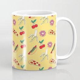 Modern yellow red fruit pizza sweet donuts food pattern Coffee Mug