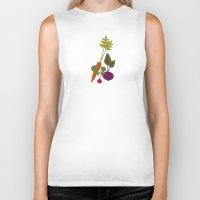 vegetable Biker Tanks featuring Vegetable Medley by Veronica Galbraith