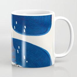 Fun Mid Century Modern Abstract Minimalist Vintage Navy Blue Brush Strokes Minimal Shapes Coffee Mug