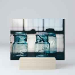 Blue Mason Jars Mini Art Print